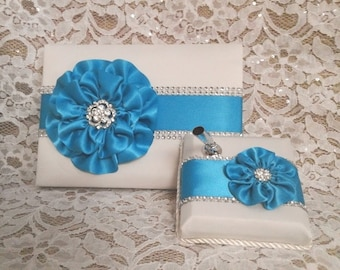 Ivory Satin Wedding Guest Book with Turquoise Flower and Rhinestone Mesh Trim & Pen Set, Turquoise Blue Guestbook