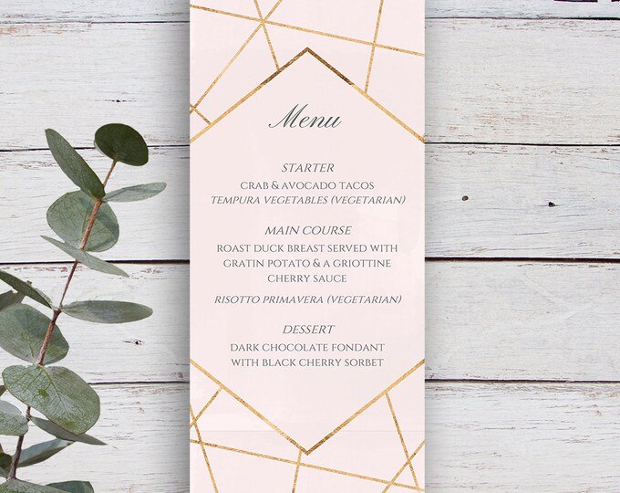 Featured listing image: Facets Printable Menu Template, Pale Pink with Gold Geometrics