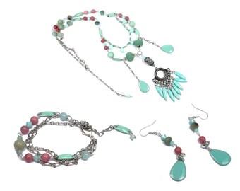 Bohemian set necklace earrings bracelet Silver Pink coral Mint