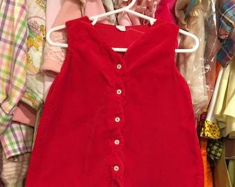 1960s Red Velvet Dress 12/18 Months