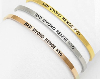 3mm Nam Myoho Renge Kyo Bangle Cuff Bracelet