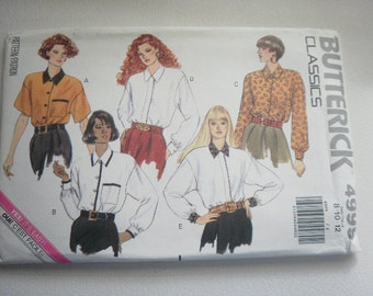 PatternVintage 1990 Styles  Ladies Blouse Sizes 8 to 12 Butterick V 4999