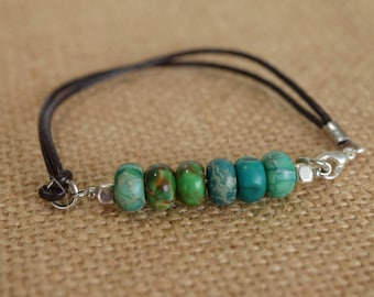 Green Gemstone Beads on a Leather Cord, Nature Inspired Boho Bracelet