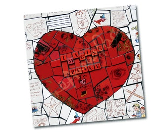 "Greeting card –""Heart – Imagine Peace"" – Not just for Valentines Day – FREE UK postage"