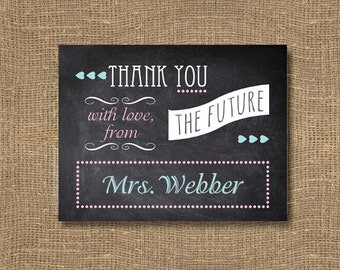 Chalkboard Thank You from the Future Mrs | Free Custom Color | Personalized Thank You's | Wedding Notes Personalized | Pack of 12 Note Cards