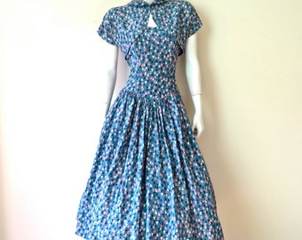 """Vintage 1950's Dress with Jacket/Blue Print Fit and Flare Dress and Jacket/50's Blue Print Full Skirt Swing Dress/26.5"""" Waist/Small"""