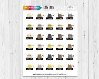 Kitty Litter Planner Stickers | Cat Litter Reminder Planner Stickers | 17365-03