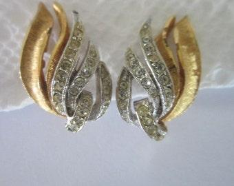 Designer Signed Coro Rhinestone Gold Tone & Silver Tone Earrings
