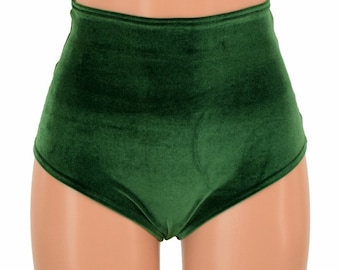 "High Waist ""Siren"" Hot Pants in Forest Green Velvet Spandex Rave Festival Clubwear Sexy - 155192"