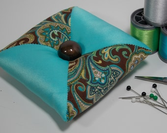 Quilted Square - Tirangular Patchwork Pincushion - Brown / Turquoise / Paisley - Poly-fil / Crushed Walnut Shell Filling