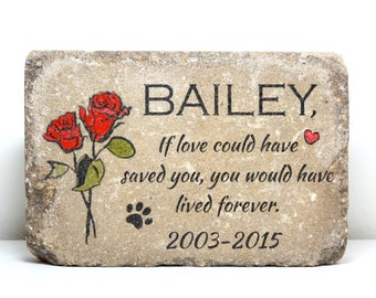 Pet Memorial Stone. 6x9 CUSTOM Burial Marker. Tumbled (Concrete) Paver Stone. Outdoor or Indoor Dog or Cat Memorial Stone. Pet Grave Marker