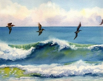 Riding the Crest pelicans just above an ocean wave