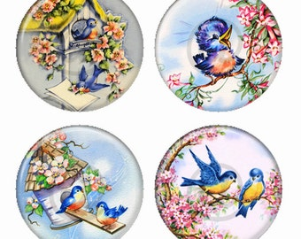 Happy Bluebirds Magnets or Pinback Buttons or Flatback Medallions Set of 4