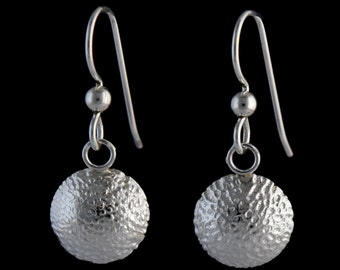 Sterling Silver 12mm Pebble Domed Disc Earrings