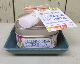 Sleeping Bear Dunes Breeze Candle & Lip Dish Kit-  Green Daffodil