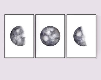 Moon Phases Set of 3 Prints, Watercolor Moon Phases, Luna Watercolor Art, Three Phases Moon printable, Three Piece Watercolor Moon Print