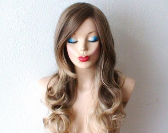 Ash Brown / Dirty blonde/ Ash blonde Ombre wig. Long curly hair long side bangs wig for daytime use or Cosplay