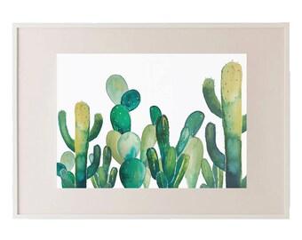 Bunch of Pricks // Watercolour Cactus Print // Cacti // Succulents // Plants // Wall Art