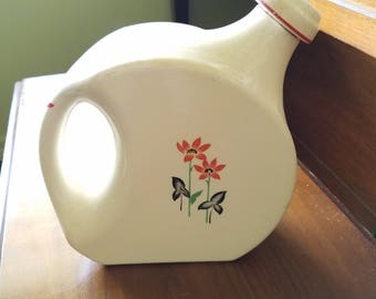 Art Deco Water Pitcher Universal Cambridge Floral Art Deco Floral Design with Cork Stopper Shabby Chic Farmhouse decor Vase