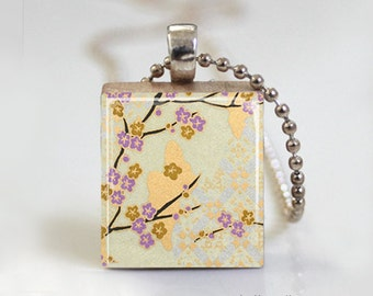 Floral Art Print Japanese Washi Paper - Scrabble Tile Pendant - Free Ball Chain or Key Ring