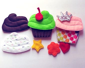 Felt board set - story board set - Cupcake story - 11 pieces - quiet books or busy bags - story time - Sunday school - teacher gift -  #3908