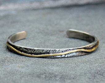 Sterling Silver Gold Cuff - Sterling Silver 18 Kt Gold Cuff - Rustic Silver and Gold Cuff Bracelet - Silver and Gold Bracelet - Heavy Cuff
