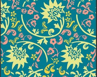 SALE 1 Yard Rhapsodia Tibet Blockprint Blue by Pat Bravo for Art Gallery Fabrics
