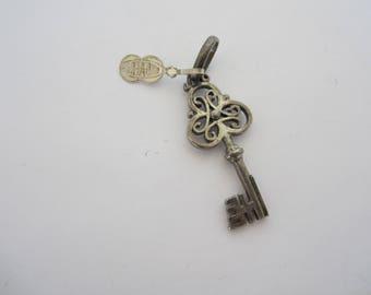 Silver Key Charm, Locket Key Charm, Large Key Charm