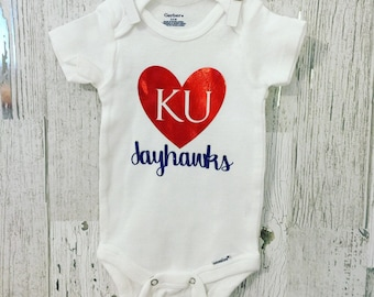 KU Jayhawk Baby Onesie / University of Kansas Onesie