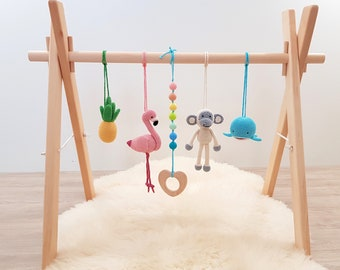 Tropical Baby play gym. Flamingo, Pineapple, Monkey, Whale, Tropical rainbow. Wooden baby gym frame, crochet rattles, teether wood