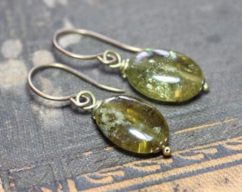 Green Garnet Earrings Green Gemstone Earrings Grossular Garnet Rustic Jewelry