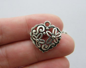 10 Heart charms antique silver tone H125