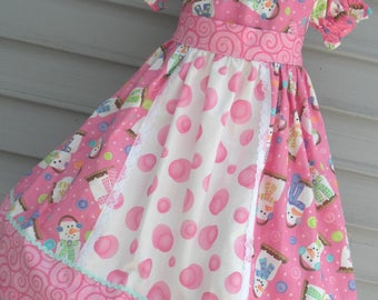 Ready to Ship Custom Boutique Pink Snowman S'Mores Christmas Girl Dress Will Fit Size 4 or 5 or 6