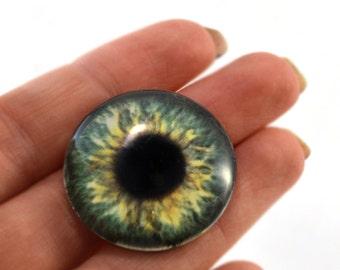 Glass Eye Cabochon 30mm Forest Green Fantasy Human Eye for Steampunk Jewelry Making or Taxidermy Doll Eyeball Flatback Circle