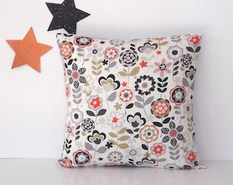 Grey Black Orange Green Flowers on Cream Pillow, 18x18 Sofa Cushion Cover, Floral Accent Throw Pillow Sham or Case