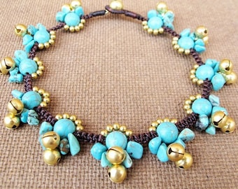 Lunar Turquoise Ankle Bracelet with Bells