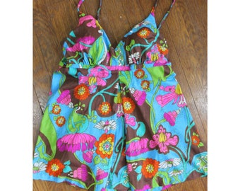 Vintage 1960s Psychedelic Tankini - 60s Flower Power One Piece / Two Piece - Saks Fifth Avenue - Size Medium, Large