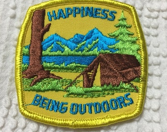 HAPPINESS is BEING OUTDOORS detailed Patch Mint Exc Item Camping Nature