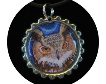 Owl Jewelry, Wise Owl, Teacher gift, teacher appreciation, art print necklace, owl charm, owl necklace,girls party favor,pendant,  Item #WN1