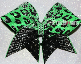 WOW ! Cheetah print and covered in  Rhinestone Cheer Bow by Funbows
