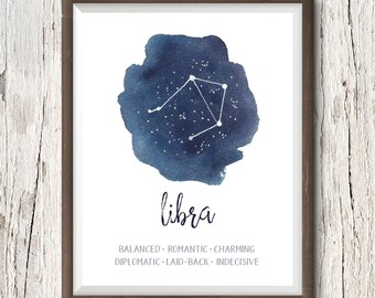 Libra Constellation, Zodiac Print, Printable Art, Libra Gift, Libra Art Print, Gift for Libra, Constellation Print, Watercolor, Libra Poster