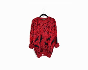 Vintage 80s Panther Sweater in Red and Black - size xl
