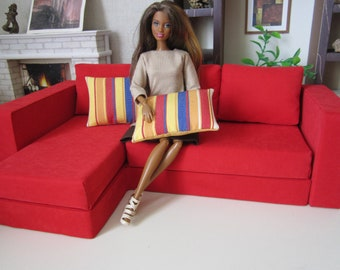 Designer Quality RED Angle BARBIE SOFA.   Great gift idea for your Girls !