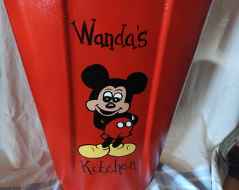 Mickey Mouse kitchen garbage can  PERSONALIZED FREE!!  (red)