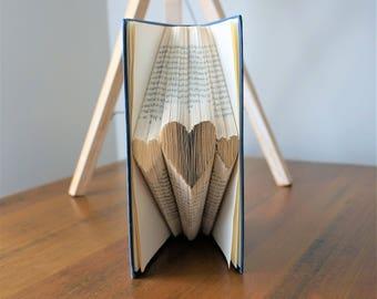 Folded book art '3 Hearts', love, anniversary, paper
