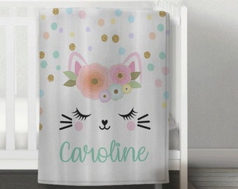 Personalized Cat Name Blanket With Flowers Fluffy Minky