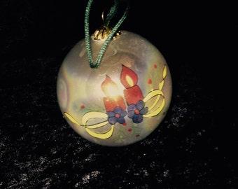 super iridescent milky white glass Christmas ball ornament; vintage shabby Victorian Christmas ball ornament; yesteryears tree decor