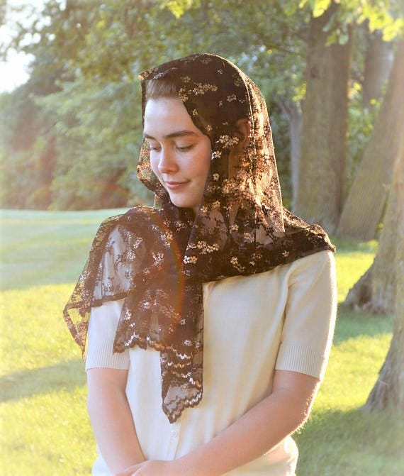 Black and Gold Lace Chapel Veil | Chapel Scarf Catholic Chapel Veil Mantilla Catholic Mantilla Black Veil for Mass Veil Robin Nest Lane
