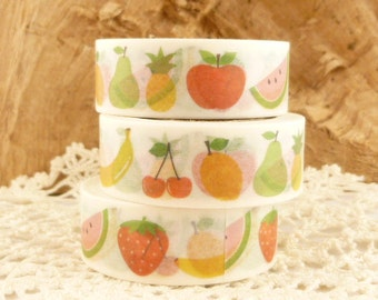 Fruit Washi Tape, Cherry, Strawberry, Apple, Watermelon, Pineapple, Banana - N1715
