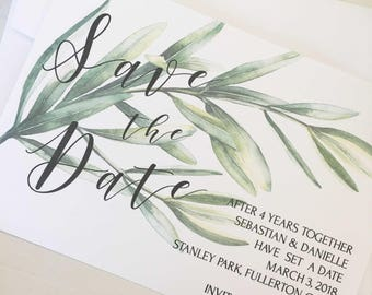 Save the Date PDF, Invitation, Save the Date Printable Invitations, Greenery Save the Date, Vineyard Wedding, Digital Download, Invitations